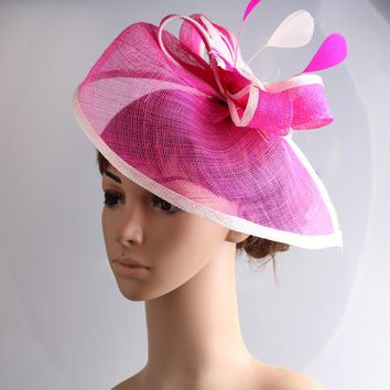 Fancy color sinamay fascinator headwear colorful mesh feather wedding party show hair accessories millinery cocktail hats MYQ082