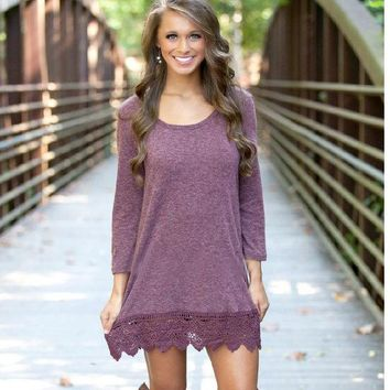DCCK0OQ Autumn Lace Patchwork Long Sleeve Pale Violet One Piece Dress [8824617735]