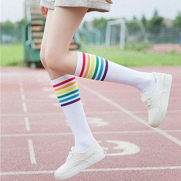 Rainbow Striped Calf Socks