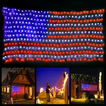 xtf2015 Led Flag Net Lights of The United States, Waterproof American Flag Light For Festival, Holiday, Independence Day, Memorial Day, Decoration, Garden, Yard, Fence, Indoor And Outdoor