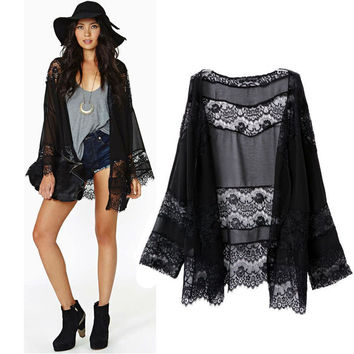 2015 Hot Sale Women Lace Splicing Hollow Long Sleeve Chiffon Kimono Cardigan Sleeveless Vest OPen Stitch Coat Tops Blouses Lee