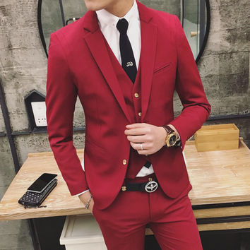 2016 Spring Clothing New Men Terno Masculino Slim Men Suits Wedding Groom Men's Casual Wear Three-piece Suit Groom Tuxedos