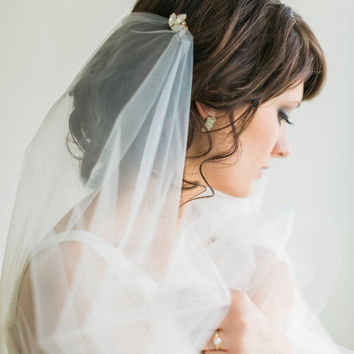 Wedding Veil, Fingertip Wedding Veil with White Opal Rhinestone Combs, Bridal Veil- MADE TO ORDER – Style 2714