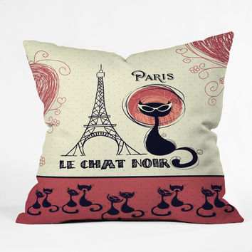 Belle13 Le Chat Noir Throw Pillow