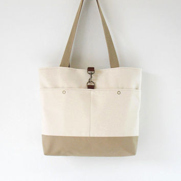 Natural Ivory and Beige Canvas Tote / Handbag / Diaper bag /  with 2 Front Pockets,  Medium. Design by BagyBags