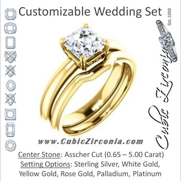 CZ Wedding Set, featuring The Marie Rosalind engagement ring (Customizable Asscher Cut Solitaire with Tooled Trellis Design)