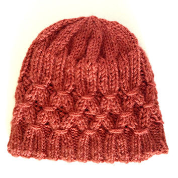 Hand knit hat, orange hat, womens knit hats, smocking design, ladies hat, womens beanie hat, womens winter hat, winter accessories, toque