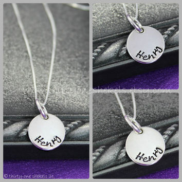 """Hand-stamped Name Necklace in Sterling Silver 1/2"""" - great for moms or grandmas"""