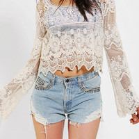 Urban Outfitters - Staring At Stars Crochet Bell Sleeve Top