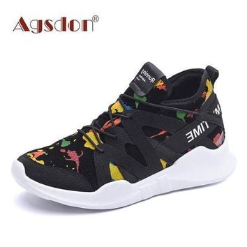 Agsdon Women Fashion Graffiti Printing Flat Heel Front Lace-up Shoes
