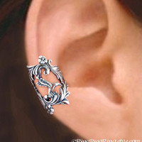 925. Hummingbird in Paradise - Sterling Silver ear cuff earring, Non pierced bird, leaf and flower earcuff jewelry 062013