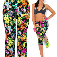 Capri Leggings High Waisted Tropical Flowers Print Yoga Pants Lady's Finess Workout Casual Pants Gym Wear = 1933371780