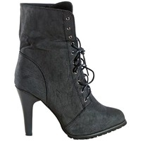 JOIE DISTRESSED UTILITY BOOTIE - BLACK