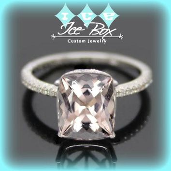 Morganite Engagement Ring 2.5ct Cushion Cut in a 14k White Gold Diamond Milgrain Halo Setting