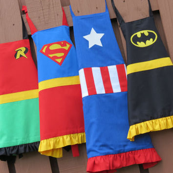 Adult superhero apron choose your superhero by SMPstore on Etsy