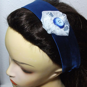 Blue Shiny Headband with Lace Flower Wrap Around Fabric Headband
