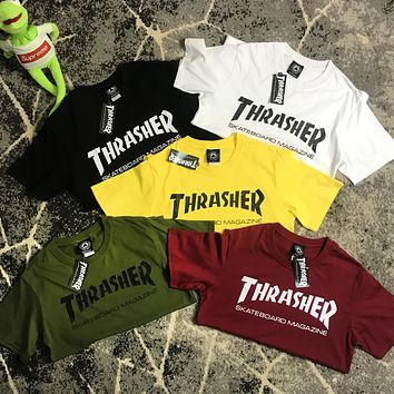 THRASHER Flame High Version Cotton Trending Shirt Top Letters Tee Five Color Optional