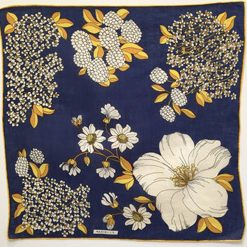 Marielle Linen Handkerchief with Blue, Yellow, White, Floral Print; Signed Designer Vintage Linen Hanky; Summer Accessory