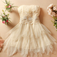 Champagne Beige and White Color Sleeveless Bridesmaid Lace Pleated Elegant Dress Cocktail/ Evening Dresses/Wedding dress/Homecoming dress