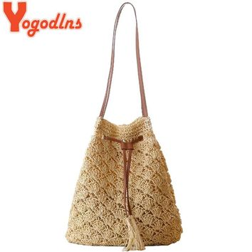 Yogodlns 2017 New Women Summer Beach Bag Bohemia Straw Bucket Casual Bags for Women  Shoulder Bag Big Bag
