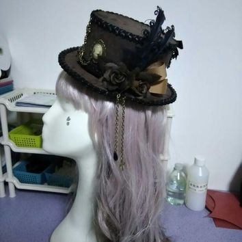 MDIG4F Retro Brown Luxury Flower & Feather Sweet Bow Mini Top Hat Punk Steampunk Lolita Cosplay Hat Fedoras Hat