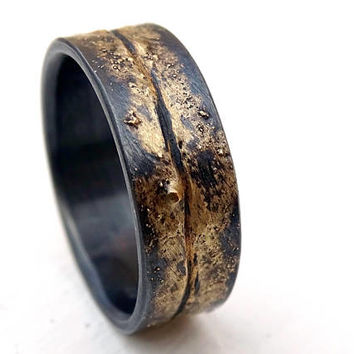 viking wedding band mens, molten wedding ring gold silver, celtic wedding ring gold fusion ring, cool mens ring organic promise ring