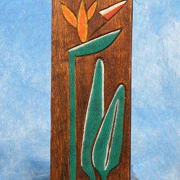 """BIRD OF PARADISE"" RELIEF - 12"" CARVED & PAINTED - OCEANIC ART"