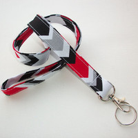 Lanyard ID Badge Holder - Red, Black, Gray, White Chevron zig zag - Lobster clasp and key ring
