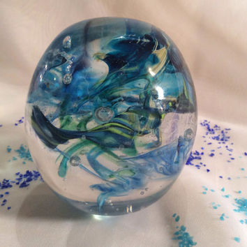 Glass Art Ocean Waves Paperweight.  Hand Blown Glass Paperweight in Blue, Green.  Blue and Green Paperweight