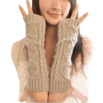 Women Crochet Arm Warmer Long Fingerless Elbow Gloves Knit Mitten Winter Gloves
