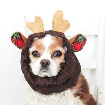 Reindeer Dog Snood / Christmas Dog Snood / Holiday Pet Accessory