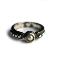 Pearl Exoskeleton Sterling Silver Band