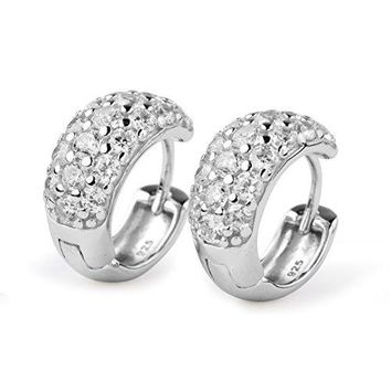 Sterling Silver White Cubic Zirconia Simulated Diamond Thick Hoop Earrings