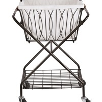 Artesa Verona Collapsible Metal Laundry Cart with Removable Basket & Canvas Bag