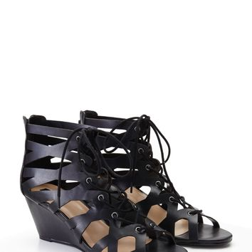Faux Leather Lace-Up Wedges