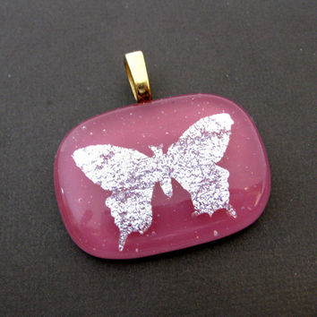 Butterfly Pendant, Omega Slide, Hand Etched Jewelry, Butterfly Jewelry - A Dream Comes True - 3512 -1