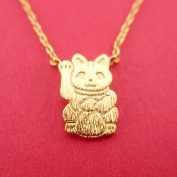 Maneki-neko Lucky Fortune Cat Calico Japanese Bobtail Pendant Necklace in Gold
