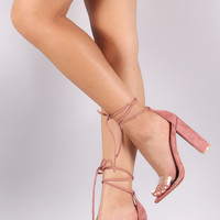 Lucite Band Open Toe Lace Up Chunky Heel