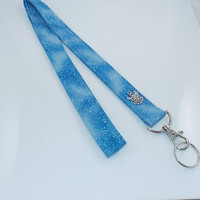 Angel Lanyard Teacher Lanyard Fabric Lanyard Angel Charm Clouds Lanyard Snow Lanyard Snow Angel Key Lanyard Key Holder ID Badge Holder