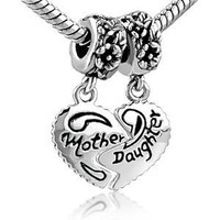 Pugster Heart Mother & Daughter Beads Fit Pandora Chamilia Biagi Charm Bracelet