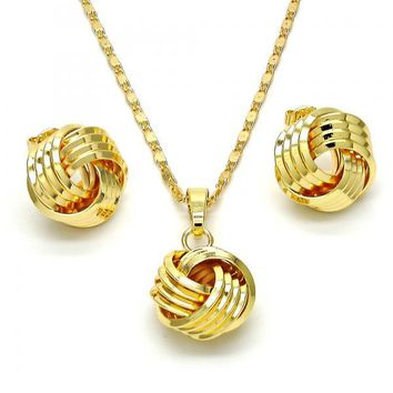 Gold Layered 10.63.0518 Necklace and Earring, Love Knot Design, Polished Finish, Golden Tone