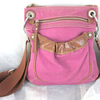 Cute Fossil Pink Canvas Crossbody Handbag Messenger Nice Weekend Purse