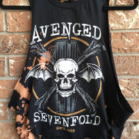 Cool Avenged Sevenfold, grunge  t shirt.....distressed, bleached band shirt