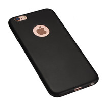 Black Lovely Candy Color with Apple Logo Window Rubber TPU Gel Soft Phone Back Case Cover Shell for iPhone 5 5s 6 6s 6 Plus 6s Plus