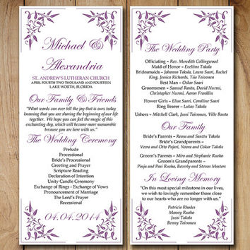 "Wedding Program Template Download Order of Service - ""Vintage Vines"" Purple Ceremony Program Template - Grapevine DIY Wedding Template"