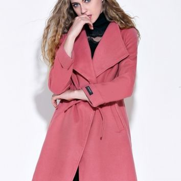 Fashion Turn Down Collar Long Sleeve Solid Color Coat with Belt - NOVASHE.com