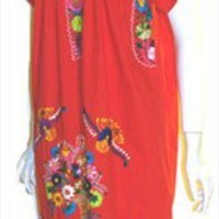 Red Cotton Mexican Dress at Nelda's Vintage Clothing