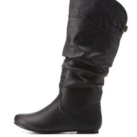 Black Slouchy Flat Mid-Calf Boots by Charlotte Russe