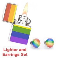 LGBT Gay and Lesbian Pride Rainbow Lighter w/ Stud Earrings SET - (Fluid Sold Separately) - (Fluid Sold Separately) (Rainbow Lighter & Stud Earrings)- LGBT Pride - Gay and Lesbian Rainbow Pride Lighter is Great for the Gay parade, as a Lesbian, Gay, Bisexu