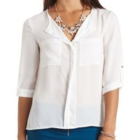Ivory Bell Sleeve Tie-Front Crop Top by Charlotte Russe